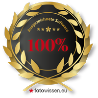 Ausgezeichnete Software - Gold Award fotowissen.eu
