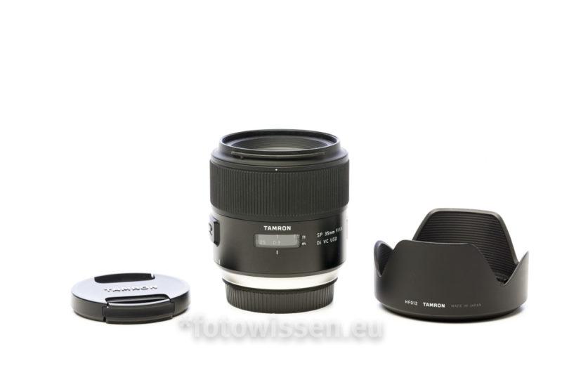Tamron SP 35mm F/1.8 Di VC USD Objektiv Objektivdeckel und Sonnenschutzblende