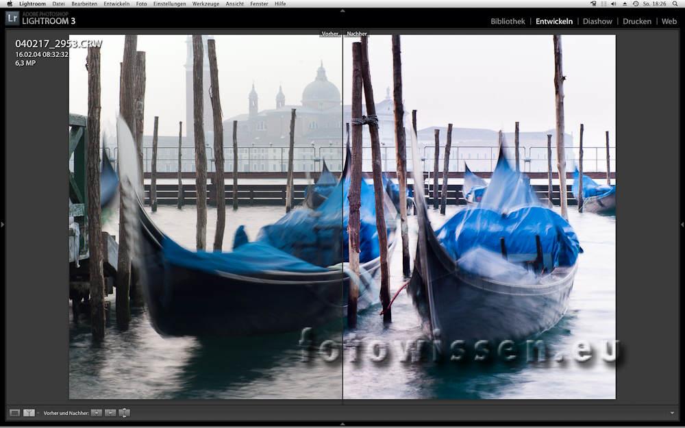 Vergleich des Fotos vor der Bearbeitung und danach - Online Fotokurs Teil 1
