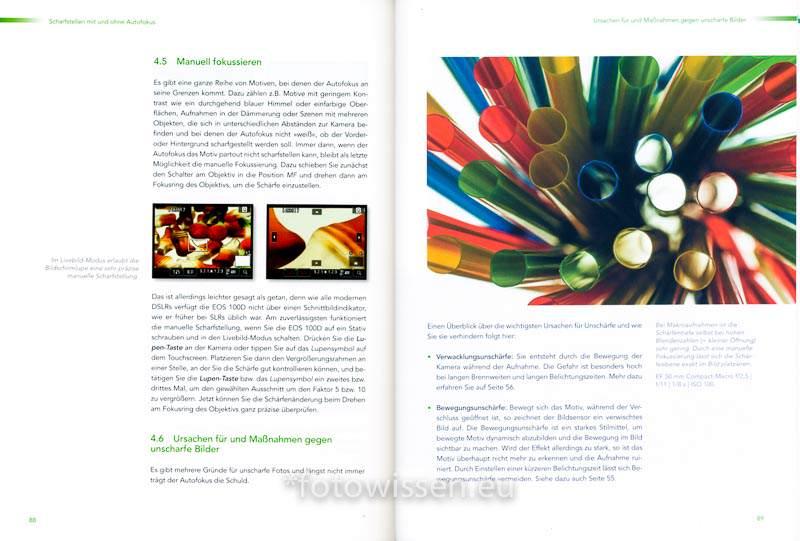 Ursachen für und Maßnahmen gegen unscharfe Bilder das eos 100D handbuch Seiten 88 89