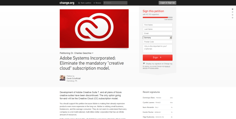 Petition gegen Adobe CC Creative Cloud