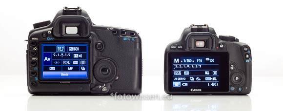 Vergleich EOS 5D Mark II mit EOS 100D Rückseite Displays