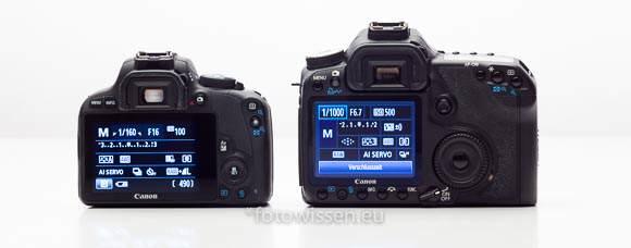 Vergleich EOS 50D mit EOS 100D Rückseite Displays