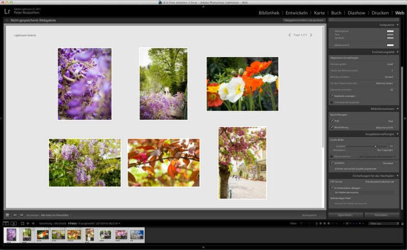 Erstellung von HTML5-basierten Web-Galerien mit Lightroom 6 / Lightroom CC