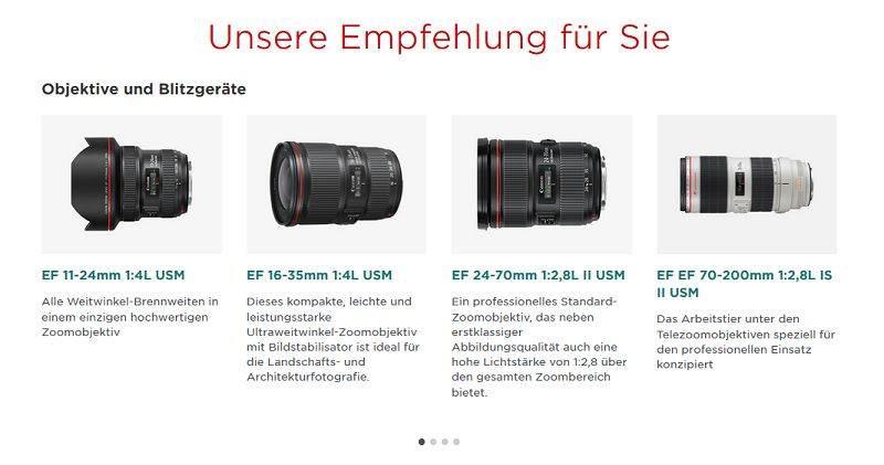 Welche Objektive an Canon EOS 5s und 5r?