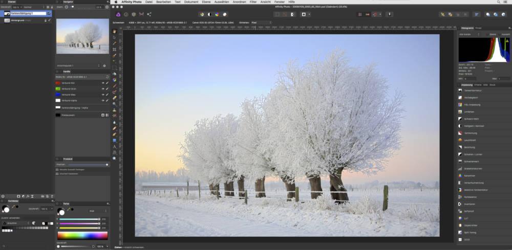 Affinity Photo erlaubt die einfache Auslagerung der Bedienfelder (links) auf einem weiteren Monitor