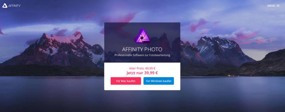 Die Affinity Photo Webseite mit dem aktuellen Angebot (Dezember 2016)