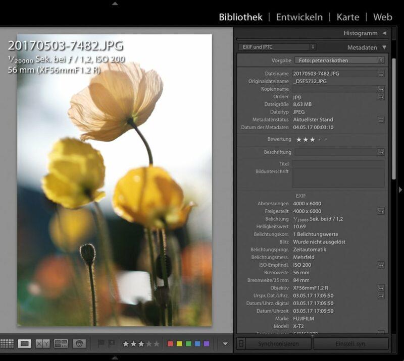 Foto Metadaten auslesen - Beispiel Lightroom