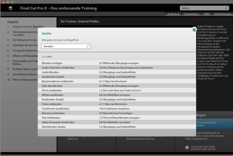 Final Cut Pro X - Das umfassende Training - Video Rheinwerk Verlag - Suchfunktion