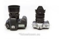 Größenvergleich Canon EOS 7D (links) und Fujifil X-T20 (rechts)