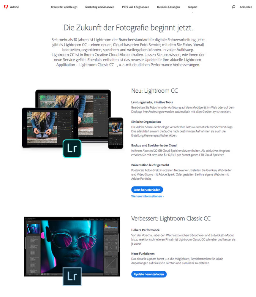 zwei neue Lightroom CC Versionen: Lightroom CC und Lightroom Classic CC