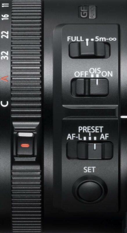 Die Bedienelemente des Fujifilm Teleobjektivs GF250mm F4
