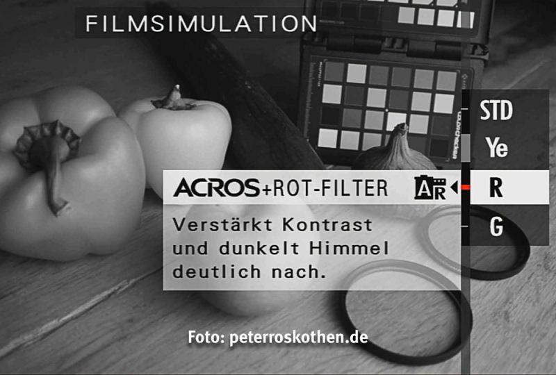 Fujifilm Sucher mit Filmsimulation Acros + Rot-Filter