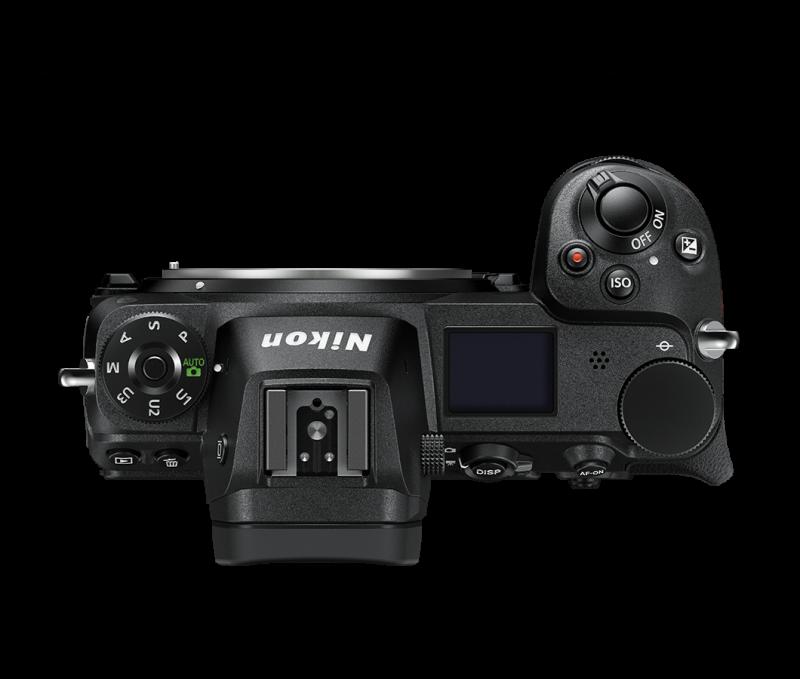 Nikon Z7 von oben, das Belichtungswahlrad zielt eindeutig auf den Profi oder Fotoamateur, nicht auf den Einsteiger