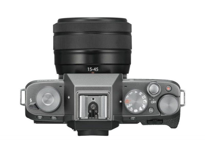 Fujifilm X-T100 in Dunkelsilber - Ansicht von oben