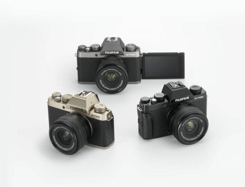 X-T100 Kameramodelle in drei Farben: Schwarz, Dunkelsilber und Champagner-Gold
