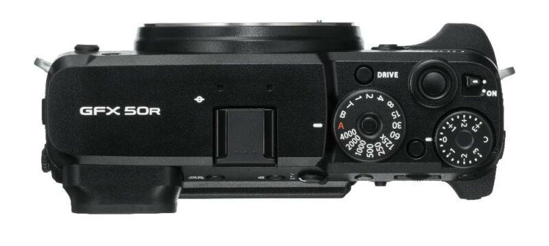 Schulterrücken der digitalen Fujifilm GFX 50R Mittelformatkamera