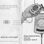 Zeiss Ikon Ikophot Belichtungsmesser Gebrauchsanleitung Vorderseite mit aufgeklappter Rückseite