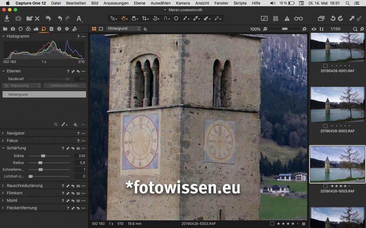 Capture One Prof für Fujifilm erlaubt das einfache und schnelle Schärfen - Angebot C1 Pro für Fujifilm