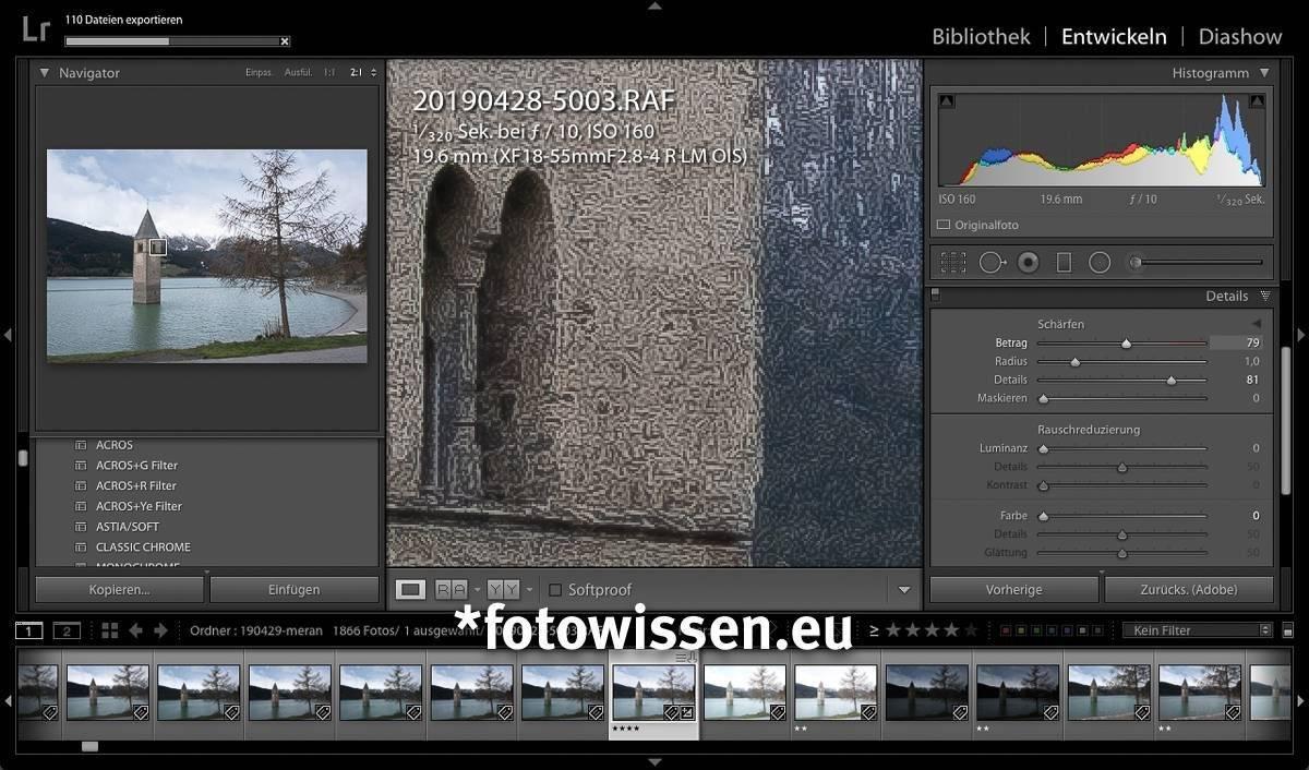 Wurm / Würmchenbildung in Adobe Lightroom beim (hier übertriebenen) Schärfen in Lightroom von Fujifilm Bildern