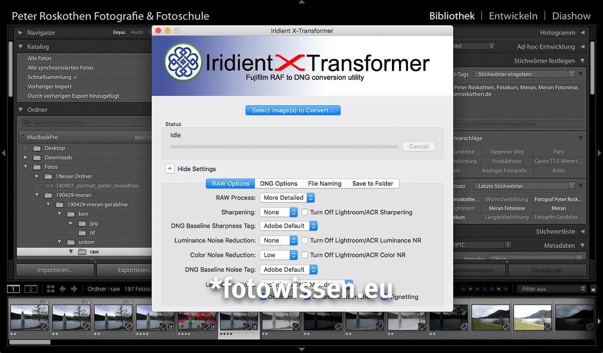 Iridient X-Transformer wandelt Bilder in DNG