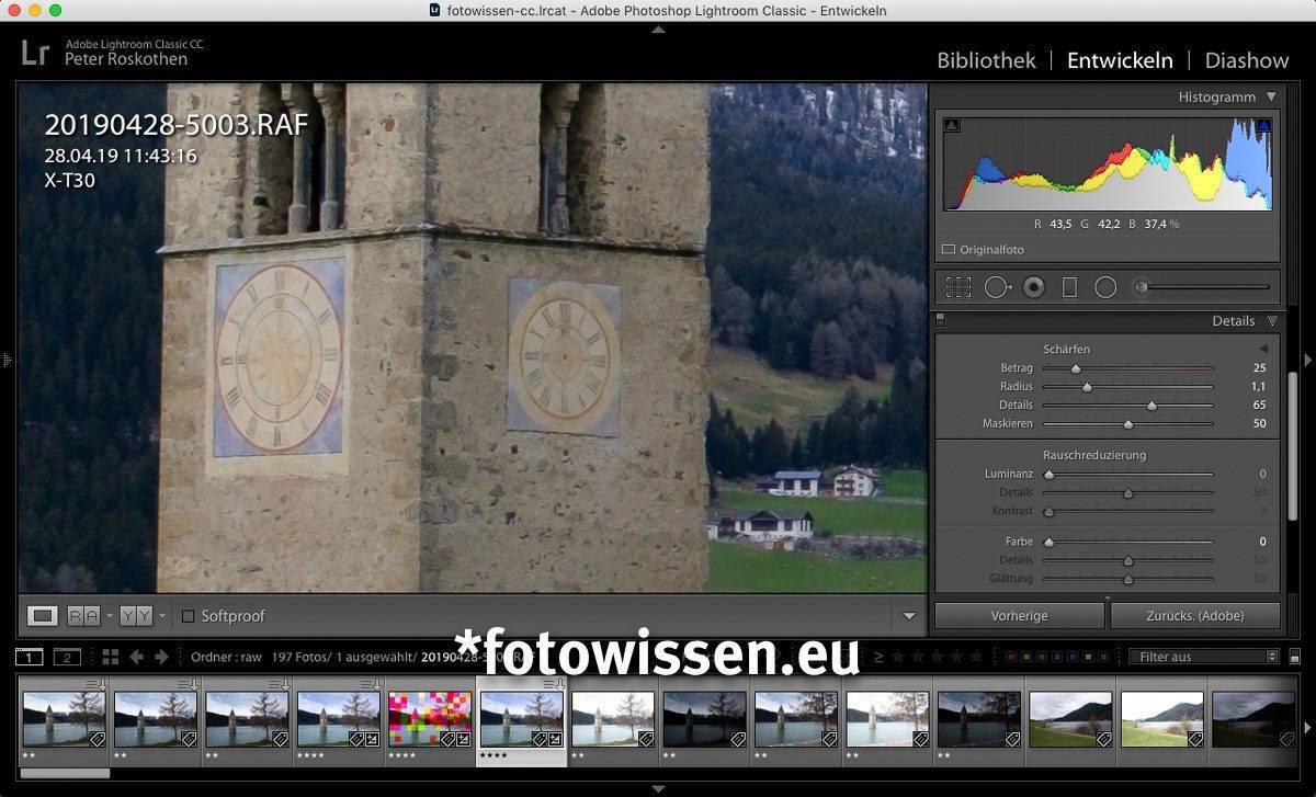 Richtig Schärfen in Lightroom mit Fujifilm RAW (RAF) Bildern