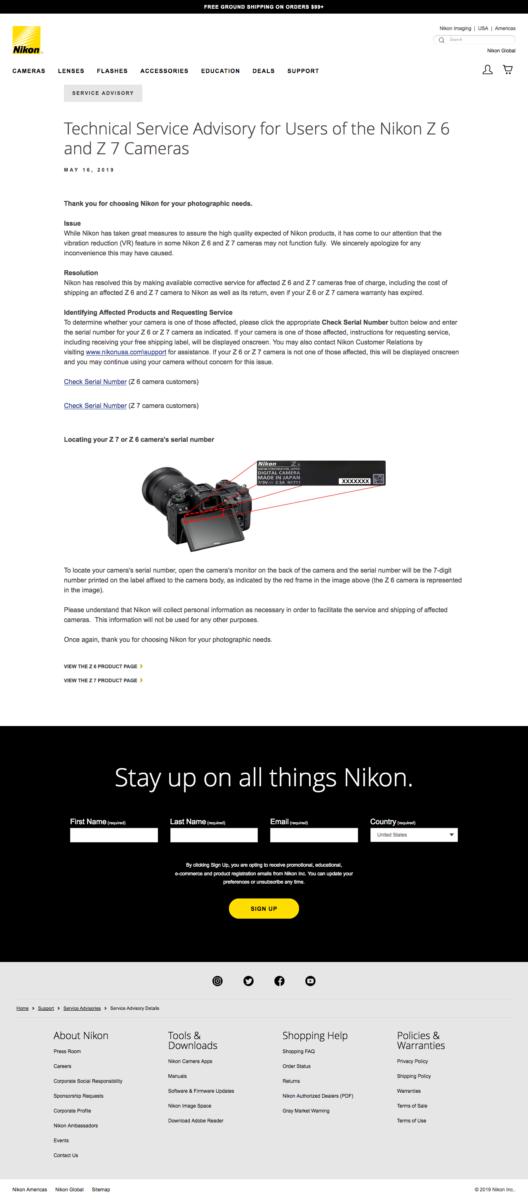 Nikon Rückruf für Z6 / Z7 - Nikon recall