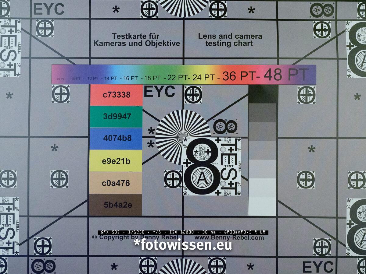 Testchart Bildqualität Fujifilm GFX 50s bei ISO 12.800