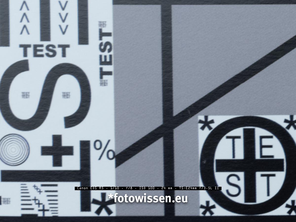 EOS R5 ISO 100 - Testchart Ecke
