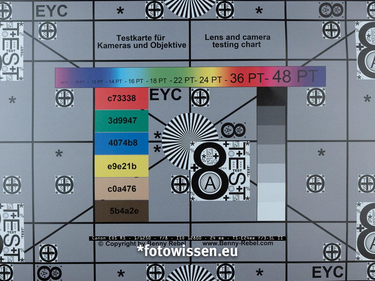 Testchart - Bildqualität Canon EOS R5 bei ISO 12.800