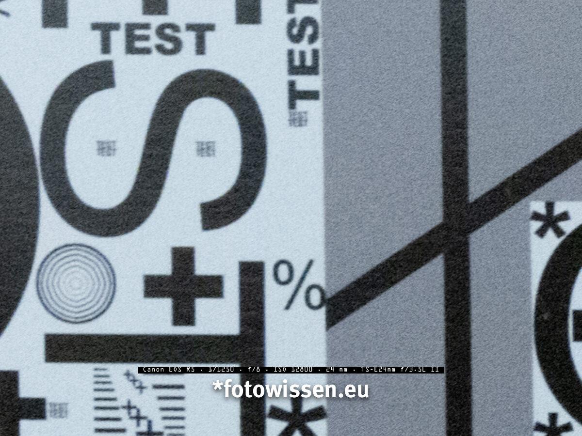 Testchart Ecke - Bildqualität Canon EOS R5 bei ISO 12.800